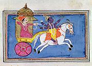 Krishna, Hindu deity, an avatar of Vishnu. 17th century illustration for epic poem 'Mahabharata' showing hero Arjuna in carriage behind Krishna mounted on horse.