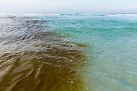 Fresh water mixing with salt water at an estuary mouth , De Mond Nature Reserve, Western Cape, South Africa