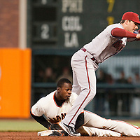 17 April 2009: San Francisco Giants' Fred Lewis is tagged out trying to steal second base by Arizona Diamondbacks shortstop Stephen Drew in the second inning during the San Francisco Giants' 2-0 win against the Arizona Diamondbacks at AT&T Park in San Francisco, CA.