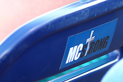 29 July 2016: Michael Collins seat back at CornCrib Stadium sports an MC Strong sticker during a Frontier League Baseball game between the Lake Erie Crushers and the Normal CornBelters at Corn Crib Stadium on the campus of Heartland Community College in Normal Illinois