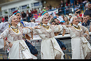 Northern Cypriots perform a traditional dance.  Karpatalya beat Northern Cyprus 3 -2 in penalties during the Conifa Paddy Power World Football Cup finals on the 9th June 2018 at Queen Elizabeth II Stadium in Enfield Town in the United Kingdom. Team mates from the Turkish Republic of Northern Cyprus  take on the Hungarians in Ukraine for the CONIFA World Football Cup final. CONIFA is an international football tournament organised by CONIFA, an umbrella association for states, minorities, stateless peoples and regions unaffiliated with FIFA. (photo by Sam Mellish / In Pictures via Getty Images)