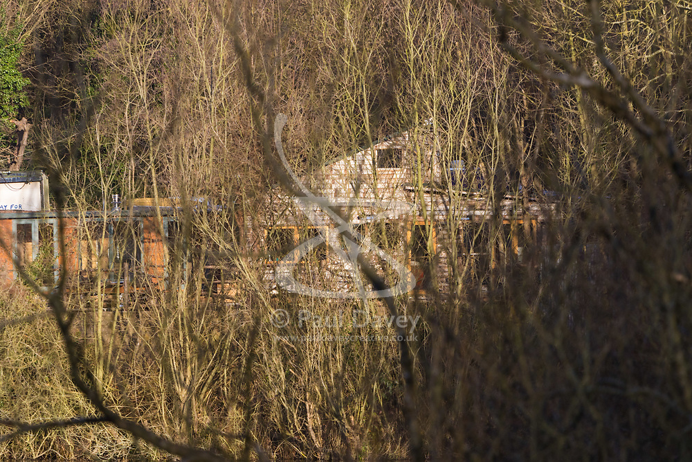 Hampstead Heath, London. An illegally constructed home nestles among the trees at the edge of Hampstead Heath. Camden Council have demanded that the dwelling is demolished as it does not have planning permission. February 01 2018. © SWNS