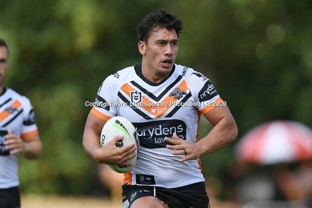 Wests Tigers Elijah Taylor in action in the NRL Trial, Vodafone Warriors v Wests Tigers, Rotorua Stadium, Rotorua, Sunday, March 01, 2020. Copyright photo: Kerry Marshall / www.photosport.nz