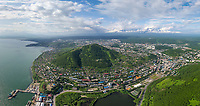 Aerial view of Petropavlovsk Kamchatsky cityscape, Russia