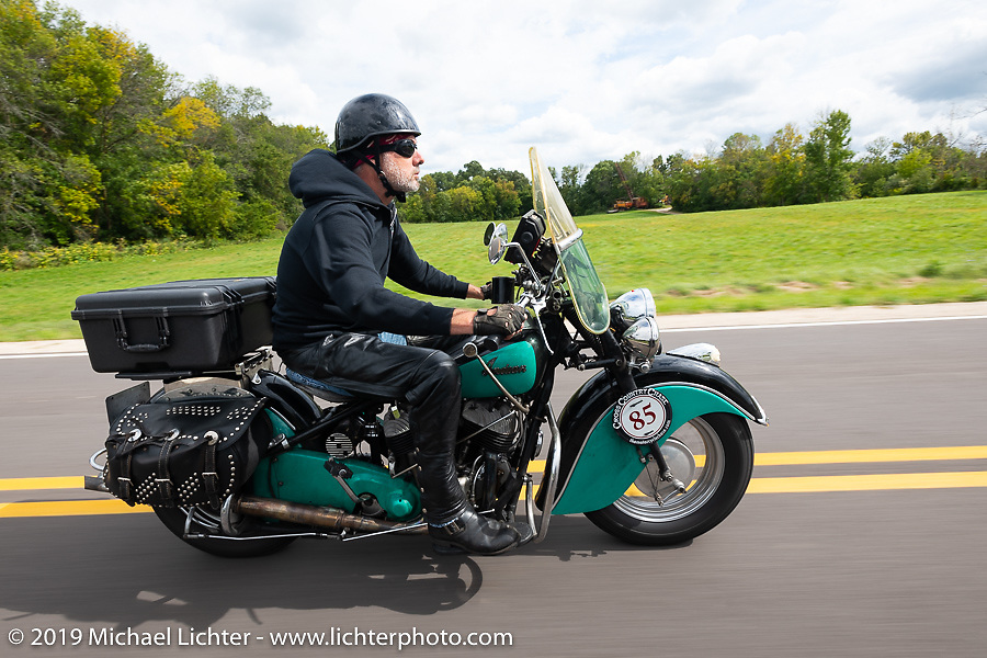Jason Wadzinski riding Jess, his 1947 Indian Chief in the Cross Country Chase motorcycle endurance run from Sault Sainte Marie, MI to Key West, FL (for vintage bikes from 1930-1948). Stage 2 from Ludington, MI to Milwaukee, WI, USA. Saturday, September 7, 2019. Photography ©2019 Michael Lichter.