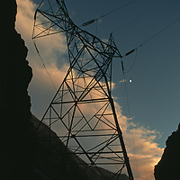 High-tension electric towers above Owens River Gorge.