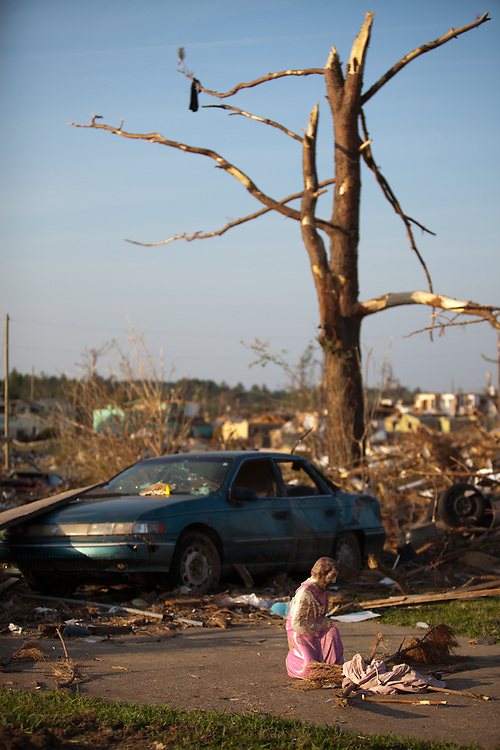 A relgous sculpture stands amung the debris of a tornado destroyed valley in Smithville Alabama. Smithville, A suburb of Tuscaloosa remains in a state of ruin over two weeks after it was hit by an F-4 ( possibly an F-5) tornado, one of an estimated 300 that struck Alabama and the neighboring states on April 27th , 2011.