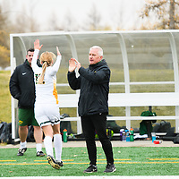 Bob Maltman (8th Season), Head Coach of the Regina Cougars women's soccer team during the Women's Soccer home game on October 21 at U of R Field. Credit: Arthur Ward/Arthur Images