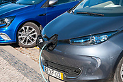 Electric car at a charging station photographed in Aveiro, Portugal