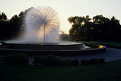 Stock photo of the Gus Wortham fountain at sunset