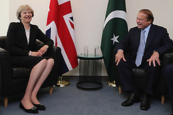 Prime Minister Theresa May talks to Prime Minister of Pakistan, Nawaz Sharif at the beginning of a bi-lateral meeting at the United Nations Building in New York City.