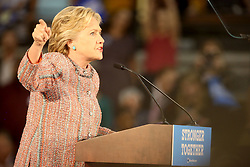 Hillary Clinton delivers a speech at Miami Dade College in Kendall with former vice president Al Gore. The two discussed climate change as well as the upcoming election. Miami, FL, USA, October 11, 2016. Photo by Mike Stocker/Sun-Sentinel/TNS/ABACAPRESS.COM