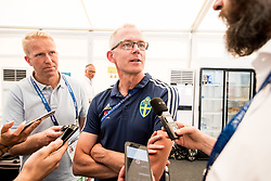 July 4, 2018 - Gelendzhik, Russia - 180704 Press officer Staffan Stjernholm of the Swedish national football team in the mixed zone during the FIFA World Cup on July 4, 2018 in Gelendzhik..Photo: Petter Arvidson / BILDBYRÃ…N / kod PA / 92081 (Credit Image: © Petter Arvidson/Bildbyran via ZUMA Press)