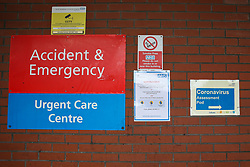 © Licensed to London News Pictures. 14/03/2020. London, UK. Signage for coronavirus assessment pod at North Middlesex University Hospital in Edmonton, north London, where two patients have tested positive for COVID-19. On Friday 13 March, a newborn baby was diagnosed with coronavirus becoming the youngest patient in the UK to be tested positive. The baby's mother is treated in North Middlesex University Hospital. 21 coronavirus victims have died and 820 cases have tested positive for the virus in the UK. Coronavirus will force NHS to cancel routine operations. Photo credit: Dinendra Haria/LNP