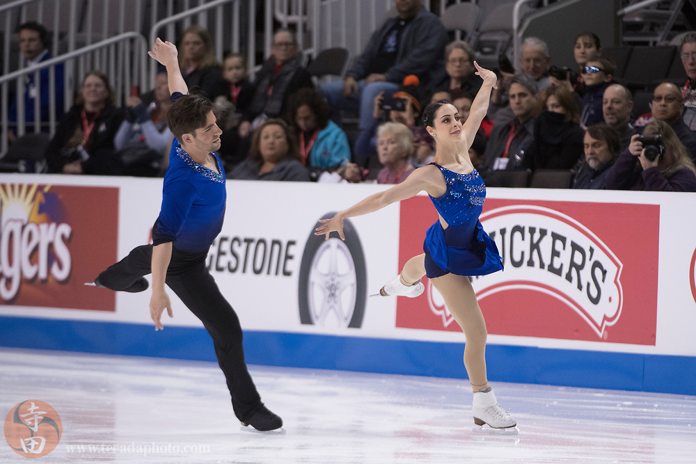 January 4, 2018; San Jose, CA, USA; Deanna Stellato-Dudek and Nathan Bartholomay perform in the pairs short program during the 2018 U.S. Figure Skating Championships at SAP Center.