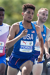 August 12, 2018 - Toronto, ON, U.S. - TORONTO, ON - AUGUST 12: Izaic Yorks (USA), gold in the 1500m at the 2018 North America, Central America, and Caribbean Athletics Association (NACAC) Track and Field Championships on August 12, 2018 held at Varsity Stadium, Toronto, Canada. (Photo by Sean Burges / Icon Sportswire) (Credit Image: © Sean Burges/Icon SMI via ZUMA Press)
