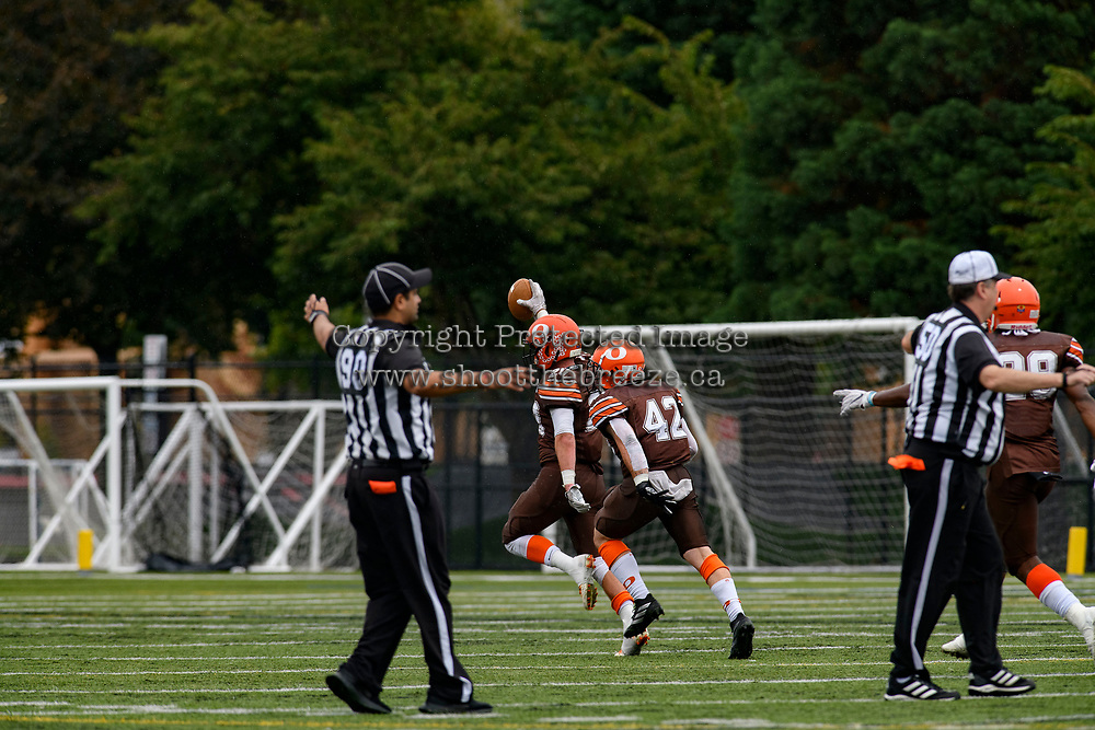 CHILLIWACK, BC - SEPTEMBER 11: Tyler Going #20 of Okanagan Sun intercepts the ball from the Westshore Rebels at Exhibition Stadium in Chilliwack, BC, Canada. (Photo by Marissa Baecker/Shoot the Breeze)