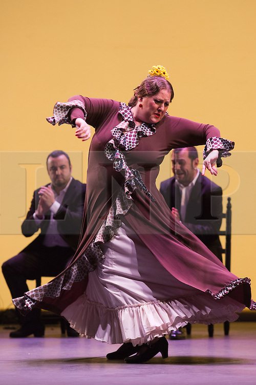 © Licensed to London News Pictures. 11 March 2014. London, England. Laura Rozalén performing. Flamenco Festival London 2014 - Gala Flamenca, The Five Seasons. A regular feature at Sadler's Wells annual Flamenco Festival, this year's Gala Flamenca programme features some of the most exciting figures on the flamenco scene - Marco Flores, Olga Pericet, Laura Rozalén and Mercedes Ruiz - bringing together an array of talents and disciplines in one spectacular show. Photo credit: Bettina Strenske/LNP