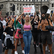 A few miles long tens of thousands of anti-lockdown and anti-vaccine protesters in London, UK