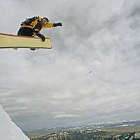 A skier catches air on The Ridge at Bridger Bowl ski area.