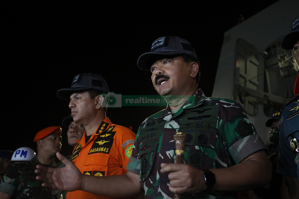 October 31, 2018 - Jakarta, West Java, Indonesia - Commander of Indonesian Armed Forces, Marshal Hadi Tjahjanto (R) and Head of the National SAR Agency, Vice Marshal Syaugi (L), on the press conference related to the SAR operation of crashed Lion Air aircraft at Karawang Bay, on October 31, 2018. The Commander of Indonesian Armed Forces, Marshal Hadi Tjahjanto and , stated that the research vessel Baruna Jaya managed to find debris and detect a ping locator which allegedly belonging to Lion Air JT-610 aircraft which fell in the Karawang bay on October 29, minutes after take off from Jakarta. (Credit Image: © Aditya Irawan/NurPhoto via ZUMA Press)