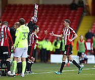 Stefan Scougall of Sheffield Utd comes on replacing Chris Basham of Sheffield Utd during the English League One match at Bramall Lane Stadium, Sheffield. Picture date: December 31st, 2016. Pic Simon Bellis/Sportimage