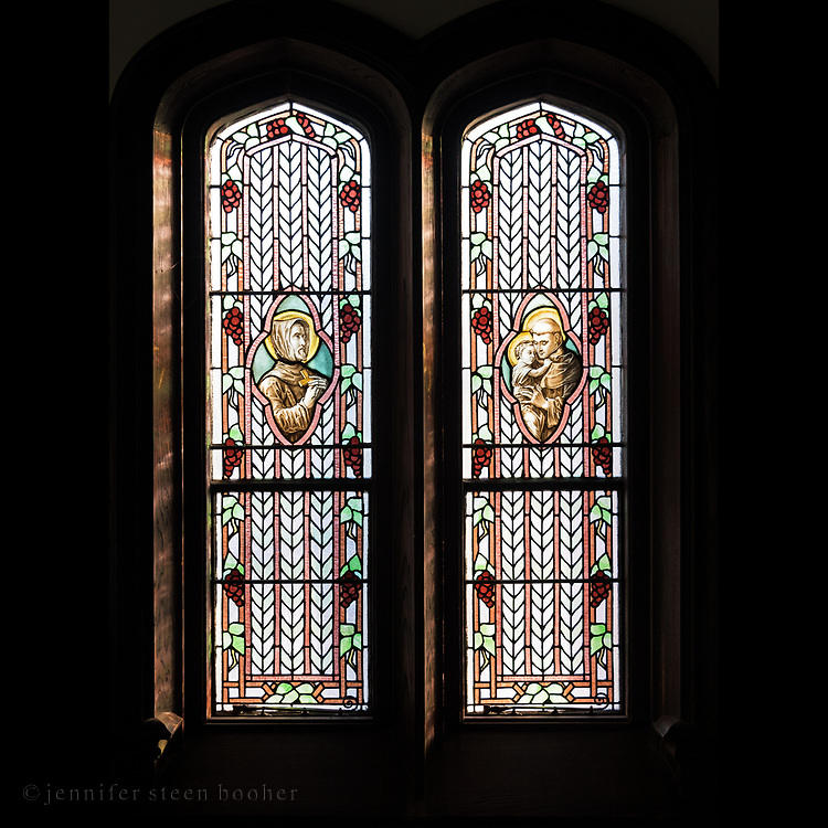 """Window 4 on plan. Each panel is 14""""w x 56""""h<br /> <br /> It seems probable that these windows honor Mrs. Morrell's father, Francis Drexel, and her uncle, Anthony Drexel.<br /> <br /> St. Edward's Convent, Bar Harbor, Maine."""