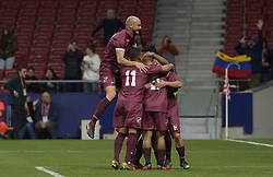 March 22, 2019 - Madrid, Madrid, Spain - Players of Venezuela celbrate after the thrid goal during the Friendly football match between Argentina and Venezuela at Wanda Metropolitano Stadium in 22 March 2019, Madrid, Spain, preparatory for the Copa América Brazil 2019 to be played from June 14 to July 7. (Credit Image: © Patricio Realpe/NurPhoto via ZUMA Press)