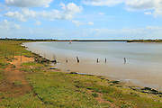 River Ore salt marsh coastal landscape, Boyton, Suffolk, England, UK distant view to Orford