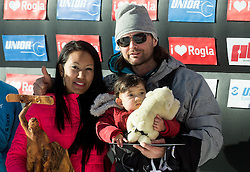 Rok Flander (SLO) with his wife Gabriela and daughter Jade after his farewell Run during Men's Parallel Giant Slalom at FIS Snowboard World Cup Rogla 2017, on January 28, 2017 at Course Jasa, Rogla, Slovenia. Photo by Vid Ponikvar / Sportida
