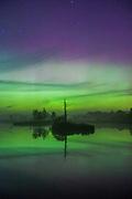 "Quite strong aurora (Northern lights) dancing over larger bog pool, nature reserve ""Niedrāju–Pilkas purvs"", Latvia Ⓒ Davis Ulands | davisulands.com"
