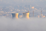 Petrochemical factory and Oil Refinery in smoke and smog. Photographed in Haifa Bay, Israel