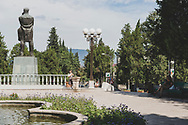 """Statue of Stepan Georgevich Shaumian in Stepanakert, Nagorno-Karabakh. Shaumian, an ethnic Armenian, was a Bolshevik revolutionary and politician. His role as a leader of the Russian revolution in the Caucasus earned him the nickname """"Caucasian Lenin"""".<br /> <br /> (September 22, 2016)"""