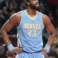 08 November 2010: Denver Nuggets' power forward #23 Shelden Williams rests during the Chicago Bulls 94-92 victory over the Denver Nuggets at the United Center, in Chicago, Illinois, USA.