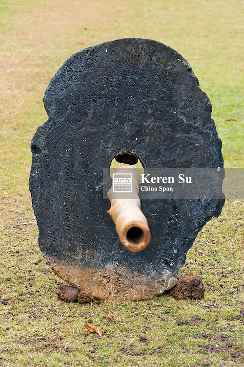 Bamboo pole to carrying stone money, Yap Island, Federated States of Micronesia