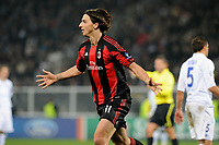 Fotball<br /> Frankrike<br /> Foto: Dppi/Digitalsport<br /> NORWAY ONLY<br /> <br /> FOOTBALL - CHAMPIONS LEAGUE 2010/2011 - GROUP STAGE - GROUP G - AJ AUXERRE v MILAN AC - 23/11/2010 - JOY ZLATAN IBRAHIMOVIC (MILAN )- AFTER HIS GOAL