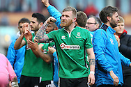 Alan Power of Lincoln City celebrates after the final whistle. The Emirates FA cup 5th round match, Burnley v Lincoln City at Turf Moor in Burnley, Lancs on Saturday 18th February 2017.<br /> pic by Chris Stading, Andrew Orchard Sports Photography.