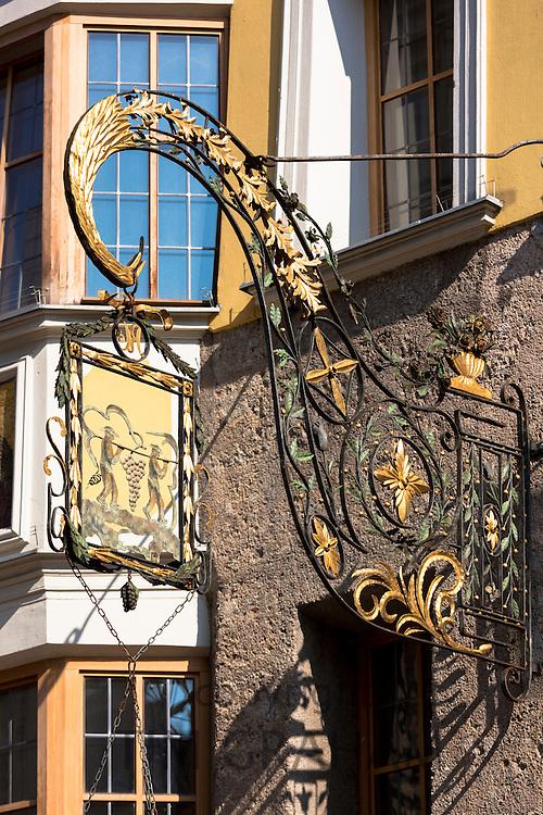 Sign for L'Osteria restaurant and bar in Herzog Friedrich Strasse in Innsbruck in the Tyrol, Austria