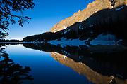 Mountain reflections in The Lock, Rocky Mountain National Park, Colorado.