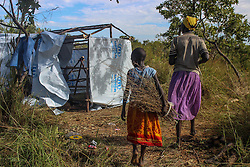 Each family at BidiBidi settlement is allocated with a plot of land, where they can build a hut and eventually cultivate in order to provide each other with food. More than 300,000 South Sudanese refugees have fled from the country's civil war into Uganda since fighting broke out in July. They mostly travel by foot for days through the bush as roads have been blocked or are too dangerous to cross. The massive influx of refugees has caused a strain in humanitarian aid due to large numbers and lack of funding. BidiBidi settlement is now the third largest in the world and holds more than 210,000 people since its opening in September.