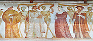 """The Church of San Vigilio in Pinzolo and its fresco paintings """"Dance of Death"""" ( Danza macabra)  painted by Simone Baschenis of Averaria in1539, Pinzolo, Trentino, Italy .<br /> <br /> Visit our MEDIEVAL ART PHOTO COLLECTIONS for more   photos  to download or buy as prints https://funkystock.photoshelter.com/gallery-collection/Medieval-Middle-Ages-Art-Artefacts-Antiquities-Pictures-Images-of/C0000YpKXiAHnG2k<br /> If you prefer to buy from our ALAMY PHOTO LIBRARY  Collection visit : https://www.alamy.com/portfolio/paul-williams-funkystock/san-vigilio-pinzolo-dance-of-death.html"""