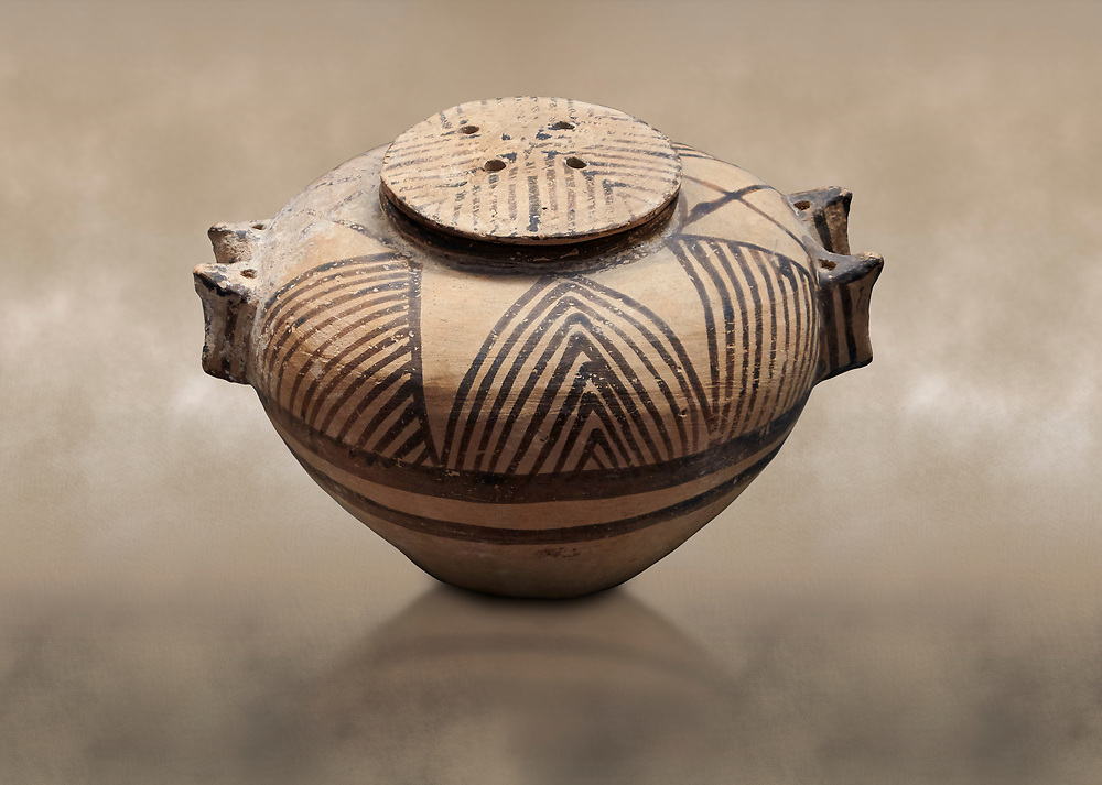 Cycladic ceramic spherical pyxis with painted linear decoration. Cycladic II (2800-2300 BC) , Chalandriani, Syros. National Archaeological Museum Athens. Cat no 5170 .<br /> <br /> If you prefer to buy from our ALAMY PHOTO LIBRARY  Collection visit : https://www.alamy.com/portfolio/paul-williams-funkystock/cycladic-art-artefacts.html Type into the LOWER SEARCH WITHIN GALLERY box to refine search by adding background colour, place, museum etc<br /> <br /> Visit our CYCLADIC CIVILISATIONS PHOTO COLLECTIONS for more photos to download or buy as wall art prints https://funkystock.photoshelter.com/gallery-collection/Cycladic-civilisation-Ancient-Greek-Artefacts-art-Photos-Pictures-Images/C0000CmevVvnC.XU