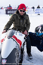 Belgian custom bike builder Brice Hennebert with his Appaloosa 2018 Indian Scout Bobber racer at the Baikal Mile Ice Speed Festival. Maksimiha, Siberia, Russia. Thursday, February 27, 2020. Photography ©2020 Michael Lichter.