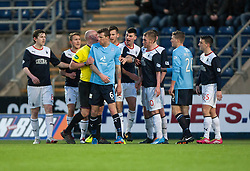 Dundee's Iain Davidson gets booked.<br /> Falkirk 2 v 0 Dundee, Scottish Championship game at The Falkirk Stadium.<br /> © Michael Schofield.