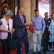 London,England,UK, 25th May 2017. Stoll - Ed Tytherleigh, CEO Ben Stoll unveils plaque as theatre launches walk of fame celebrating East London's cultural legacy with plaques also dedicated to Frank Matcham and Oswald Stoll at Hackney Empire,London.UK. by See Li