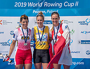 Poznan, POLAND, 23rd June 2019, Sunday,  Finish of the Women's Single Sculls Final, World Rowing Cup II, Malta Lake Course, © Peter SPURRIER/Intersport Images, <br /> Centre, Gold Medalist, NZL W1X, Emma TWIGG, left, Silver Medalist,  AUT W1X Magdalena LOBNIG, right, Bronze Medalist CAN W1X, Carling ZEEMAN,  <br /> <br /> 14:24:11