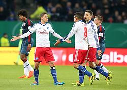 Football: Germany, DFB Cup<br /> Ivo Ilicivic, Tomas Rincon, Milan Badelj (Hamburger SV, HSV) - <br /> Dante (FC Bayern Muenchen)