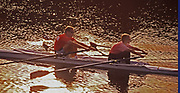 Sunset, man and woman row at Pinchot State Park, York Co., PA