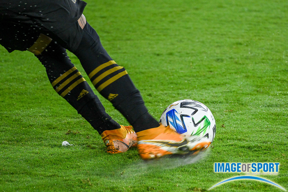 Detailed view of an Adidas MLS soccer ball kicked by LAFC midfielder Brian Rodriguez (17) during a MLS soccer game, Sunday, Sept. 27, 2020, in Los Angeles. The San Jose Earthquakes defeated LAFC 2-1.(Dylan Stewart/Image of Sport)