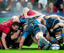 Ospreys scrum <br /> <br /> Photographer Simon King/Replay Images<br /> <br /> European Rugby Champions Cup Round 1 - Ospreys v Munster - Saturday 16th November 2019 - Liberty Stadium - Swansea<br /> <br /> World Copyright © Replay Images . All rights reserved. info@replayimages.co.uk - http://replayimages.co.uk